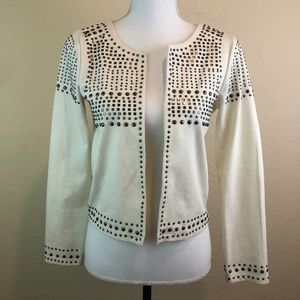 White Studded Cardigan Long Sleeves XS H&M Sweater